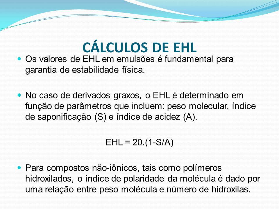 CÁLCULOS DE EHL Os valores de EHL em emulsões é fundamental para garantia de estabilidade física. No caso de derivados graxos, o EHL é determinado em
