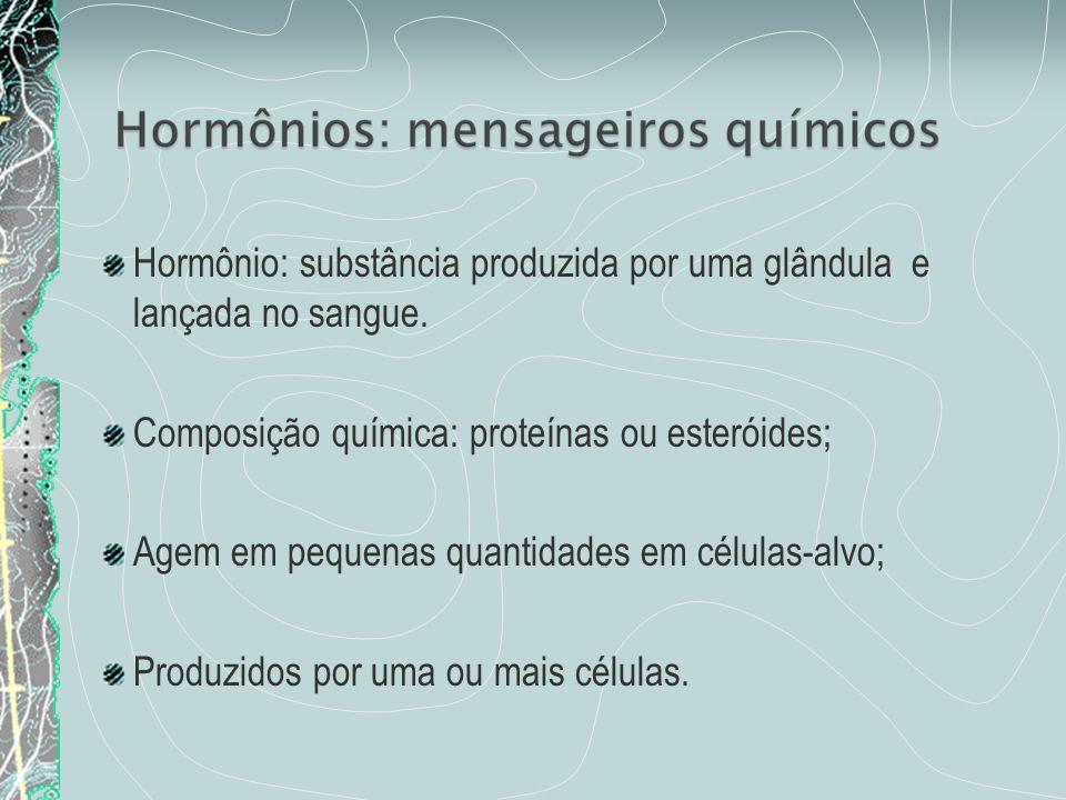 Hormônio: substância produzida por uma glândula e lançada no sangue. Composição química: proteínas ou esteróides; Agem em pequenas quantidades em célu