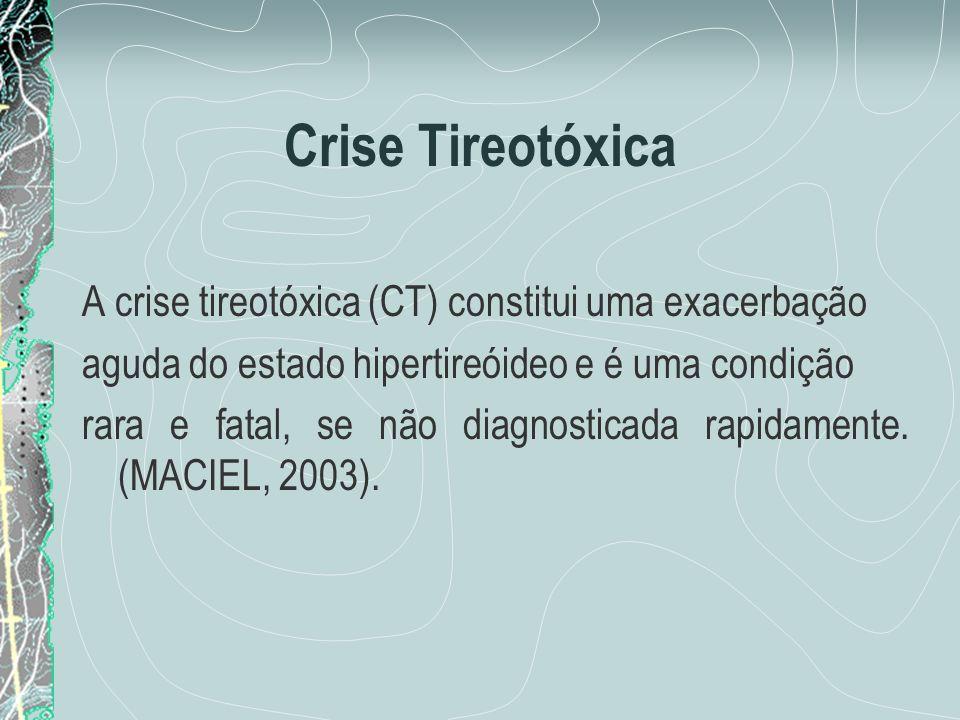 Crise Tireotóxica A crise tireotóxica (CT) constitui uma exacerbação aguda do estado hipertireóideo e é uma condição rara e fatal, se não diagnosticad