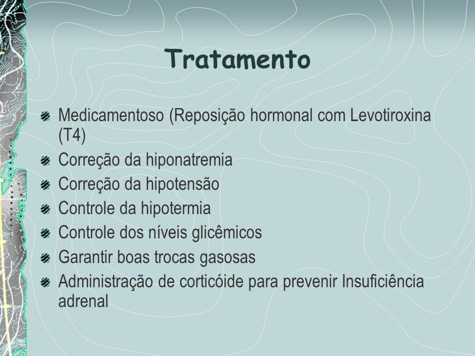 Tratamento Medicamentoso (Reposição hormonal com Levotiroxina (T4) Correção da hiponatremia Correção da hipotensão Controle da hipotermia Controle dos