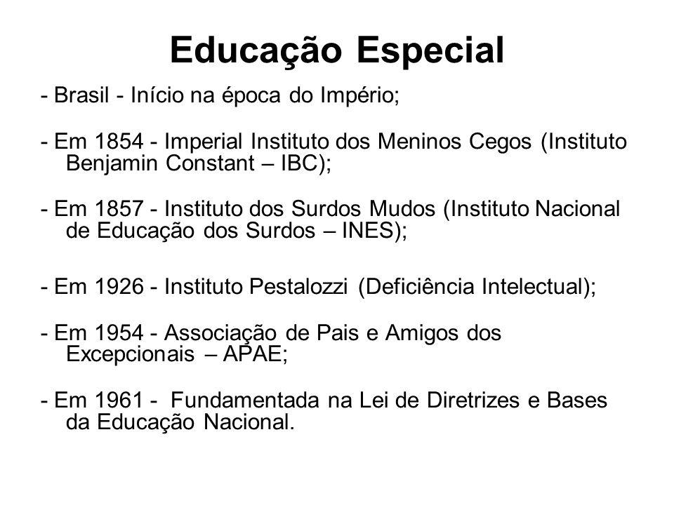Educação Especial - Brasil - Início na época do Império; - Em 1854 - Imperial Instituto dos Meninos Cegos (Instituto Benjamin Constant – IBC); - Em 18