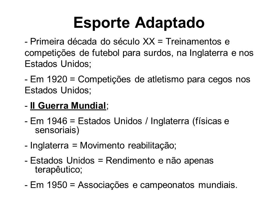 Esporte Adaptado - Primeira década do século XX = Treinamentos e competições de futebol para surdos, na Inglaterra e nos Estados Unidos; - Em 1920 = C