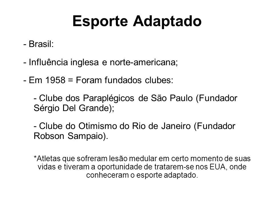 Esporte Adaptado - Brasil: - Influência inglesa e norte-americana; - Em 1958 = Foram fundados clubes: - Clube dos Paraplégicos de São Paulo (Fundador