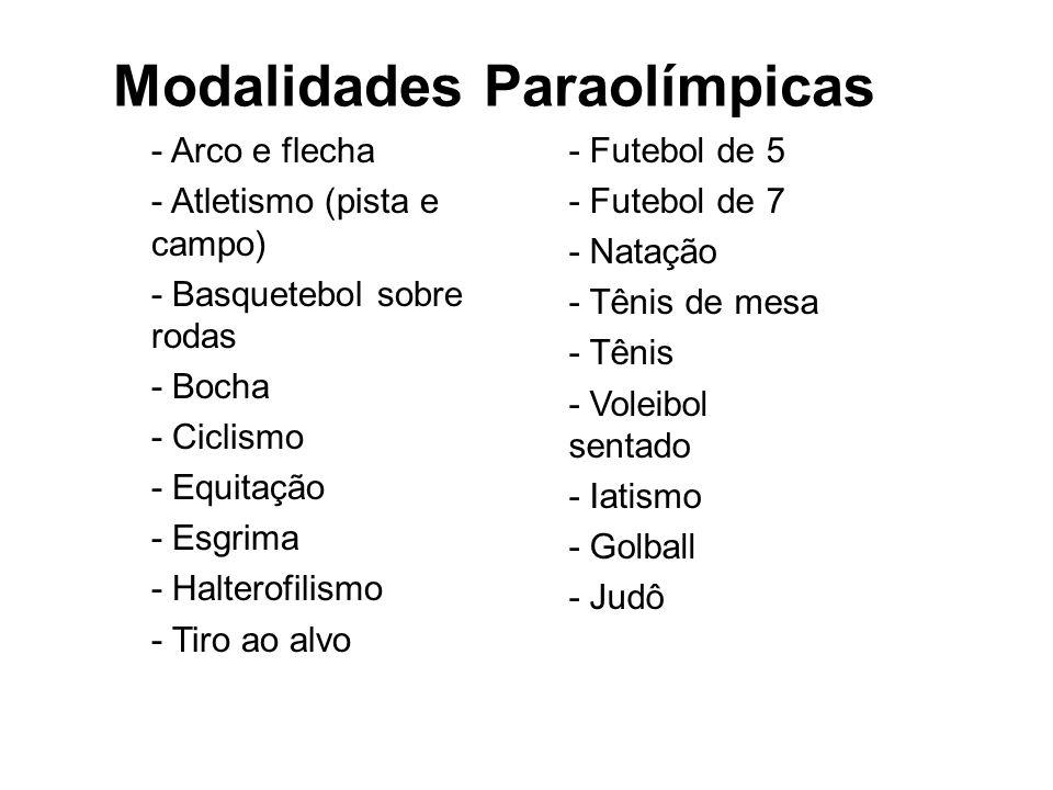 Modalidades Paraolímpicas - Arco e flecha - Atletismo (pista e campo) - Basquetebol sobre rodas - Bocha - Ciclismo - Equitação - Esgrima - Halterofili