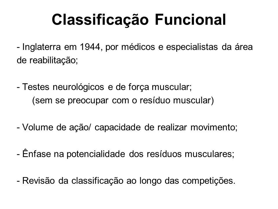 Classificação Funcional - Inglaterra em 1944, por médicos e especialistas da área de reabilitação; - Testes neurológicos e de força muscular; (sem se