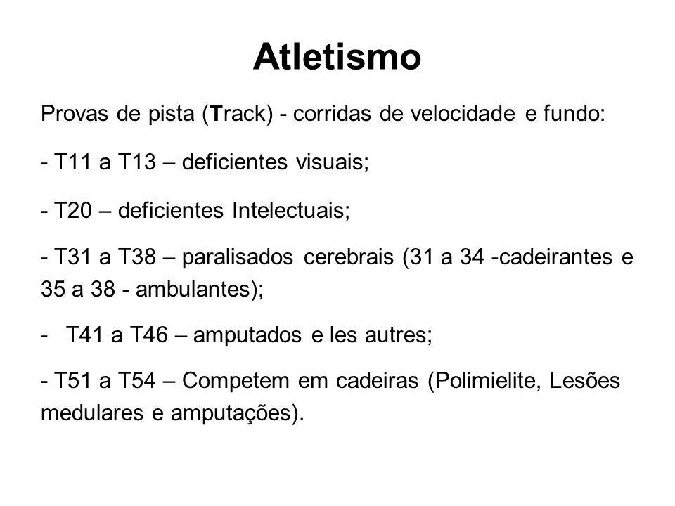 Atletismo Provas de pista (Track) - corridas de velocidade e fundo: - T11 a T13 – deficientes visuais; - T20 – deficientes Intelectuais; - T31 a T38 –