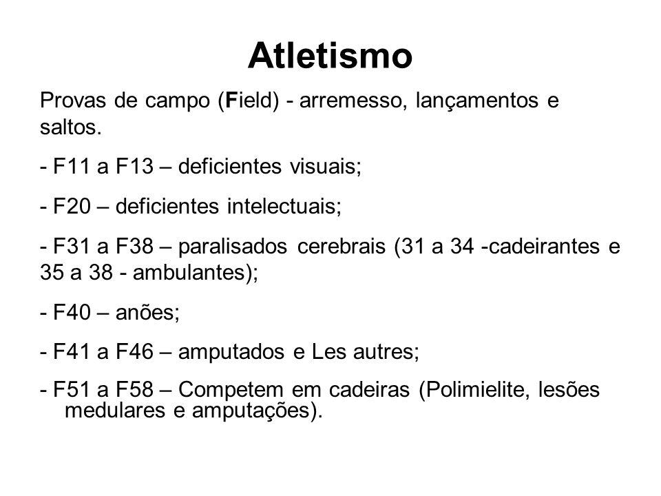 Atletismo Provas de campo (Field) - arremesso, lançamentos e saltos. - F11 a F13 – deficientes visuais; - F20 – deficientes intelectuais; - F31 a F38