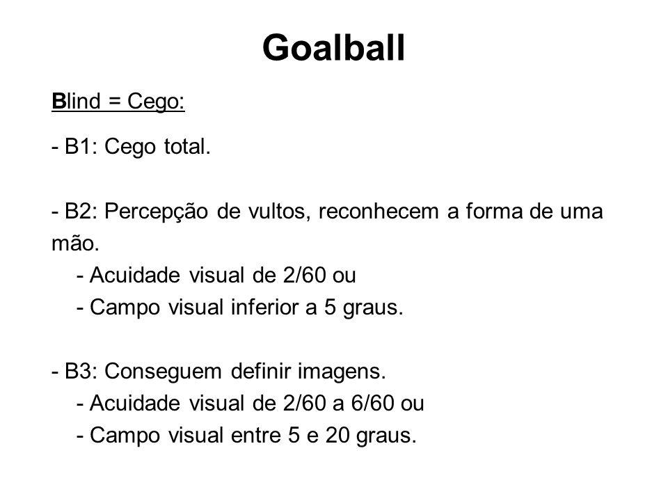 Goalball Blind = Cego: - B1: Cego total. - B2: Percepção de vultos, reconhecem a forma de uma mão. - Acuidade visual de 2/60 ou - Campo visual inferio