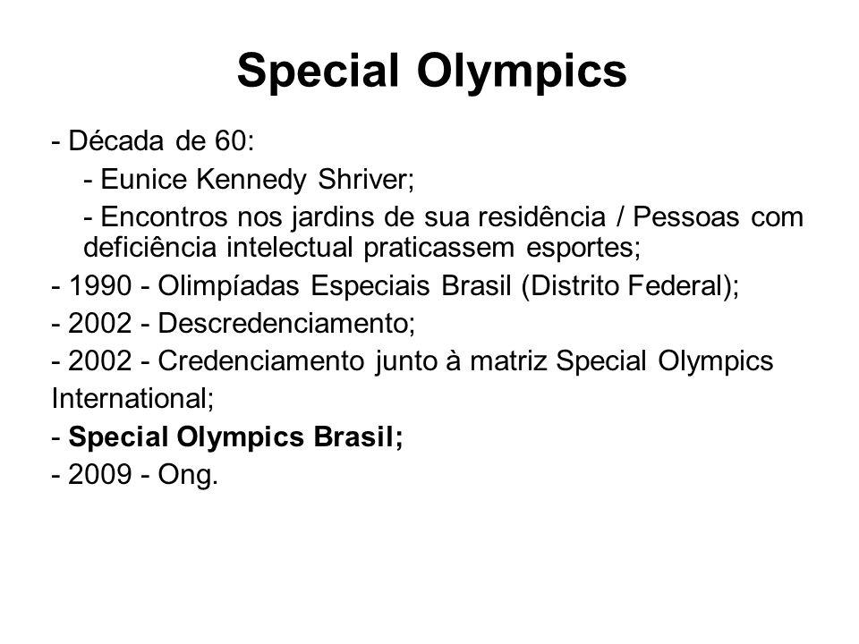 Special Olympics - Década de 60: - Eunice Kennedy Shriver; - Encontros nos jardins de sua residência / Pessoas com deficiência intelectual praticassem