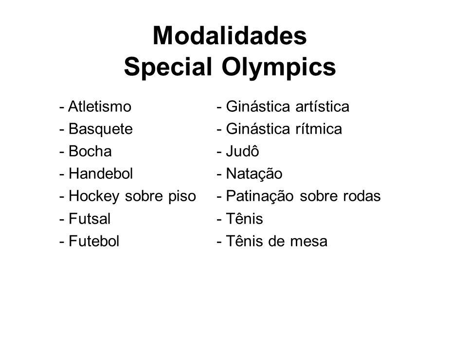 Modalidades Special Olympics - Atletismo - Basquete - Bocha - Handebol - Hockey sobre piso - Futsal - Futebol - Ginástica artística - Ginástica rítmic