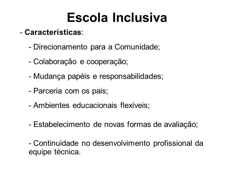 Escola Inclusiva - Características: - Direcionamento para a Comunidade; - Colaboração e cooperação; - Mudança papéis e responsabilidades; - Parceria c