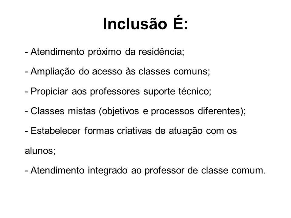 Inclusão É: - Atendimento próximo da residência; - Ampliação do acesso às classes comuns; - Propiciar aos professores suporte técnico; - Classes mista
