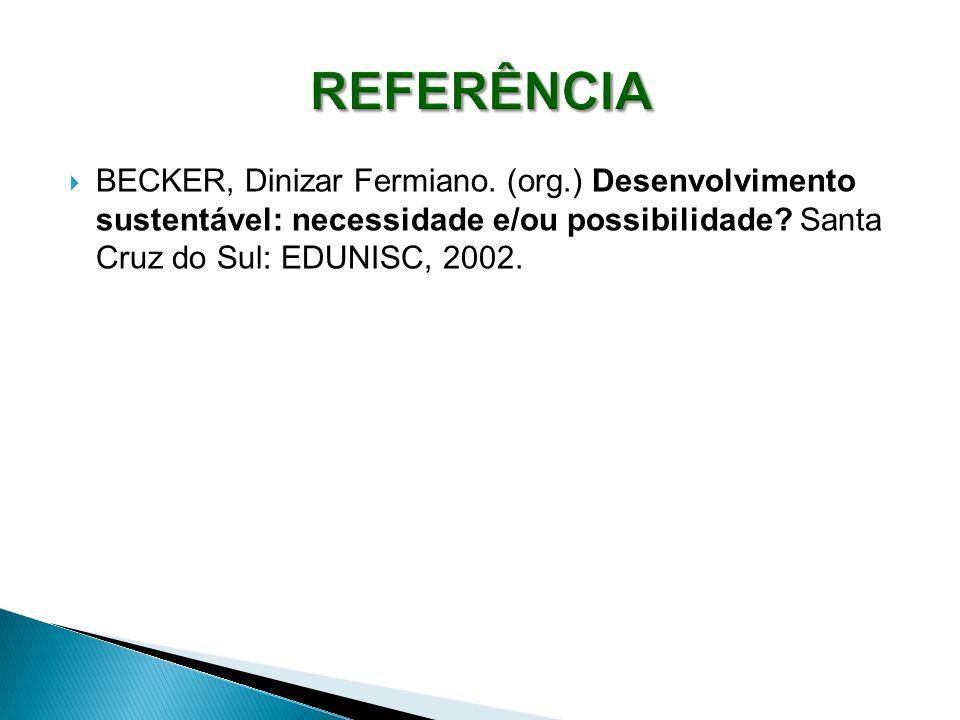 BECKER, Dinizar Fermiano. (org.) Desenvolvimento sustentável: necessidade e/ou possibilidade? Santa Cruz do Sul: EDUNISC, 2002.