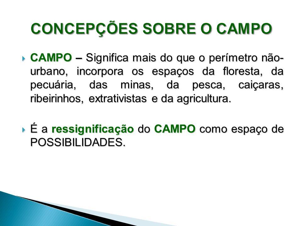 CAMPO – Significa mais do que o perímetro não- urbano, incorpora os espaços da floresta, da pecuária, das minas, da pesca, caiçaras, ribeirinhos, extrativistas e da agricultura.