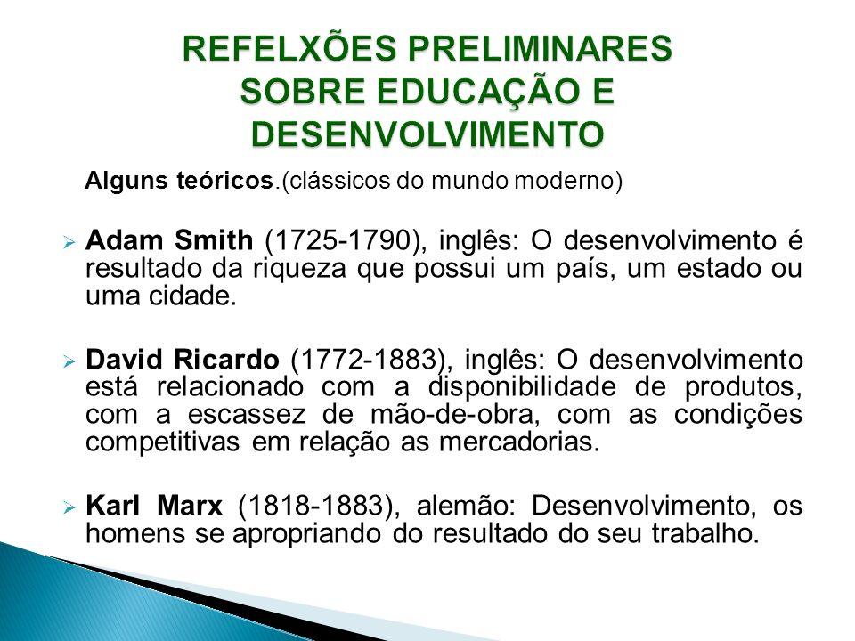 Alguns teóricos.(clássicos do mundo moderno) Adam Smith (1725-1790), inglês: O desenvolvimento é resultado da riqueza que possui um país, um estado ou uma cidade.