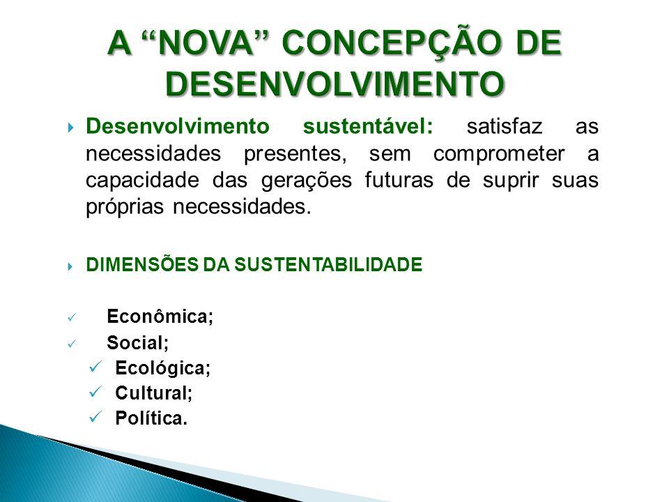 Desenvolvimento sustentável: satisfaz as necessidades presentes, sem comprometer a capacidade das gerações futuras de suprir suas próprias necessidade