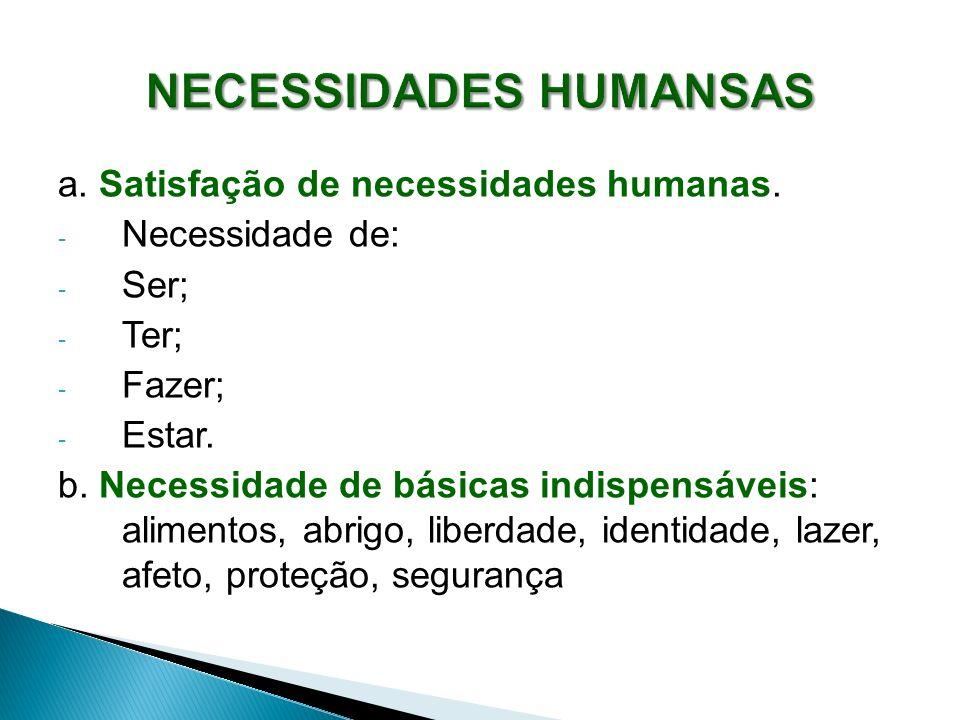 a. Satisfação de necessidades humanas. - Necessidade de: - Ser; - Ter; - Fazer; - Estar. b. Necessidade de básicas indispensáveis: alimentos, abrigo,