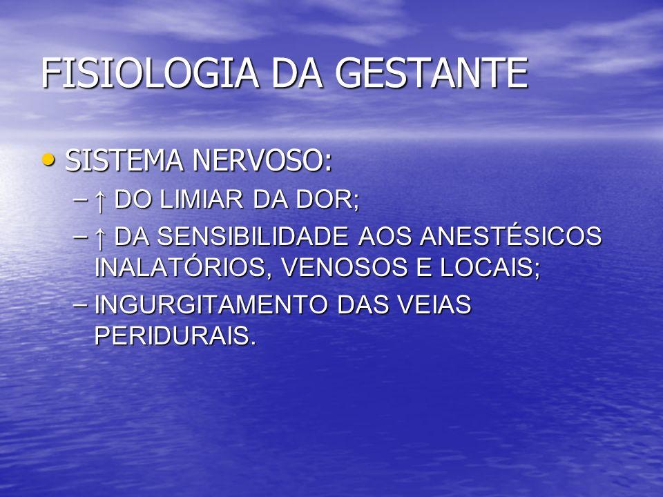 FISIOLOGIA DA GESTANTE SISTEMA NERVOSO: SISTEMA NERVOSO: – DO LIMIAR DA DOR; – DA SENSIBILIDADE AOS ANESTÉSICOS INALATÓRIOS, VENOSOS E LOCAIS; – INGUR
