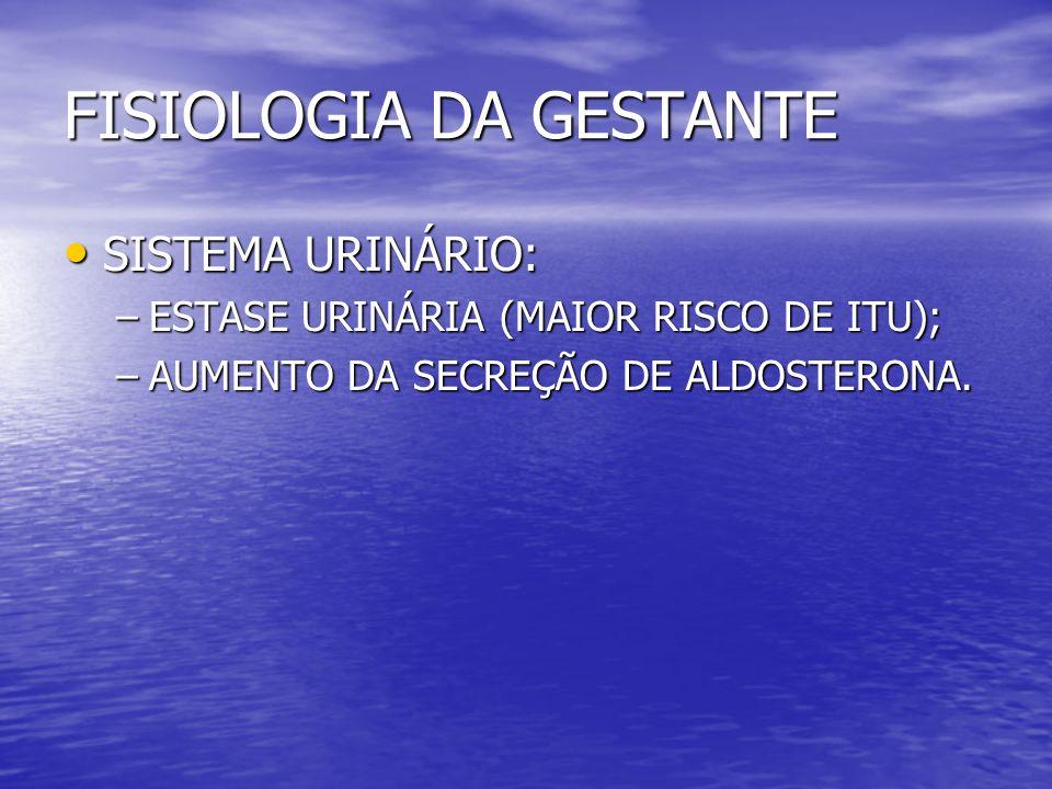 FISIOLOGIA DA GESTANTE SISTEMA URINÁRIO: SISTEMA URINÁRIO: –ESTASE URINÁRIA (MAIOR RISCO DE ITU); –AUMENTO DA SECREÇÃO DE ALDOSTERONA.