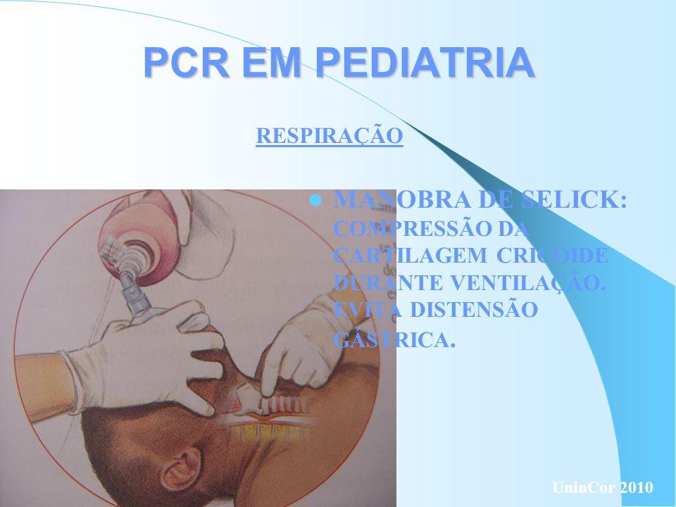 PCR EM PEDIATRIA RESPIRAÇÃO MANOBRA DE SELICK: COMPRESSÃO DA CARTILAGEM CRICÓIDE DURANTE VENTILAÇÃO. EVITA DISTENSÃO GÁSTRICA. UninCor 2010