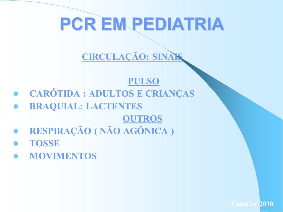 PCR EM PEDIATRIA PULSO CARÓTIDA : ADULTOS E CRIANÇAS BRAQUIAL: LACTENTES OUTROS RESPIRAÇÃO ( NÃO AGÔNICA ) TOSSE MOVIMENTOS CIRCULAÇÃO: SINAIS UninCor
