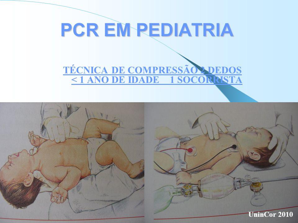 PCR EM PEDIATRIA TÉCNICA DE COMPRESSÃO 2 DEDOS < 1 ANO DE IDADE 1 SOCORRISTA UninCor 2010