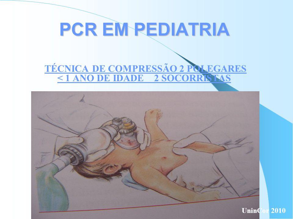 PCR EM PEDIATRIA TÉCNICA DE COMPRESSÃO 2 POLEGARES < 1 ANO DE IDADE 2 SOCORRISTAS UninCor 2010