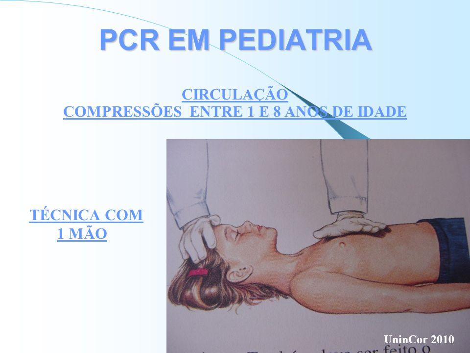 PCR EM PEDIATRIA CIRCULAÇÃO COMPRESSÕES ENTRE 1 E 8 ANOS DE IDADE TÉCNICA COM 1 MÃO UninCor 2010