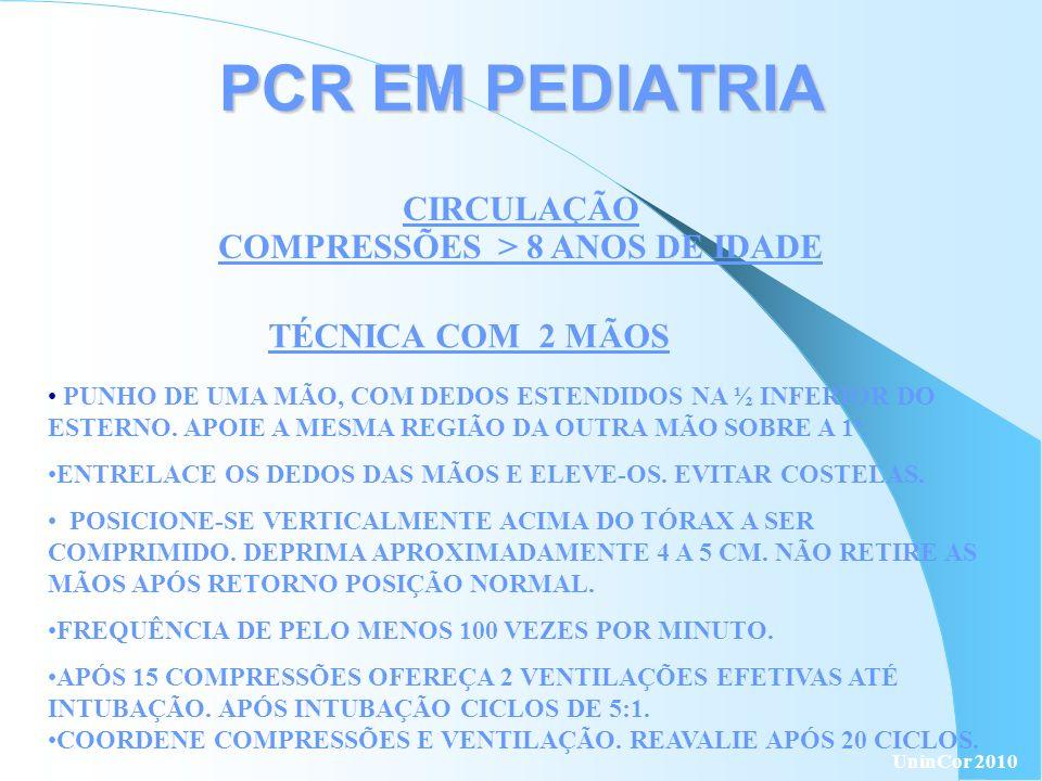 PCR EM PEDIATRIA CIRCULAÇÃO COMPRESSÕES > 8 ANOS DE IDADE TÉCNICA COM 2 MÃOS PUNHO DE UMA MÃO, COM DEDOS ESTENDIDOS NA ½ INFERIOR DO ESTERNO. APOIE A