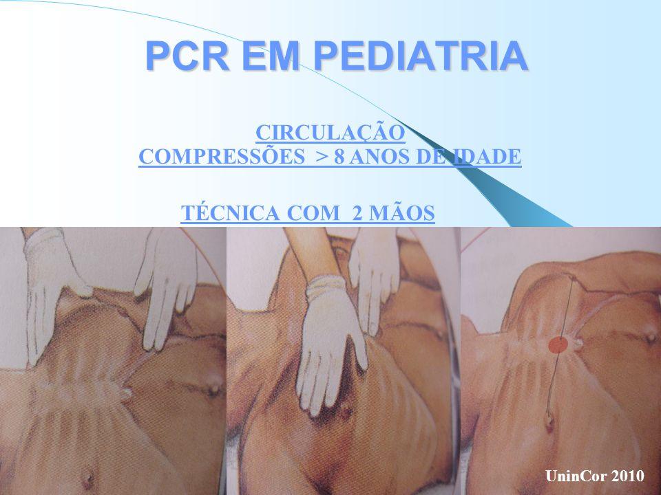 PCR EM PEDIATRIA CIRCULAÇÃO COMPRESSÕES > 8 ANOS DE IDADE TÉCNICA COM 2 MÃOS UninCor 2010
