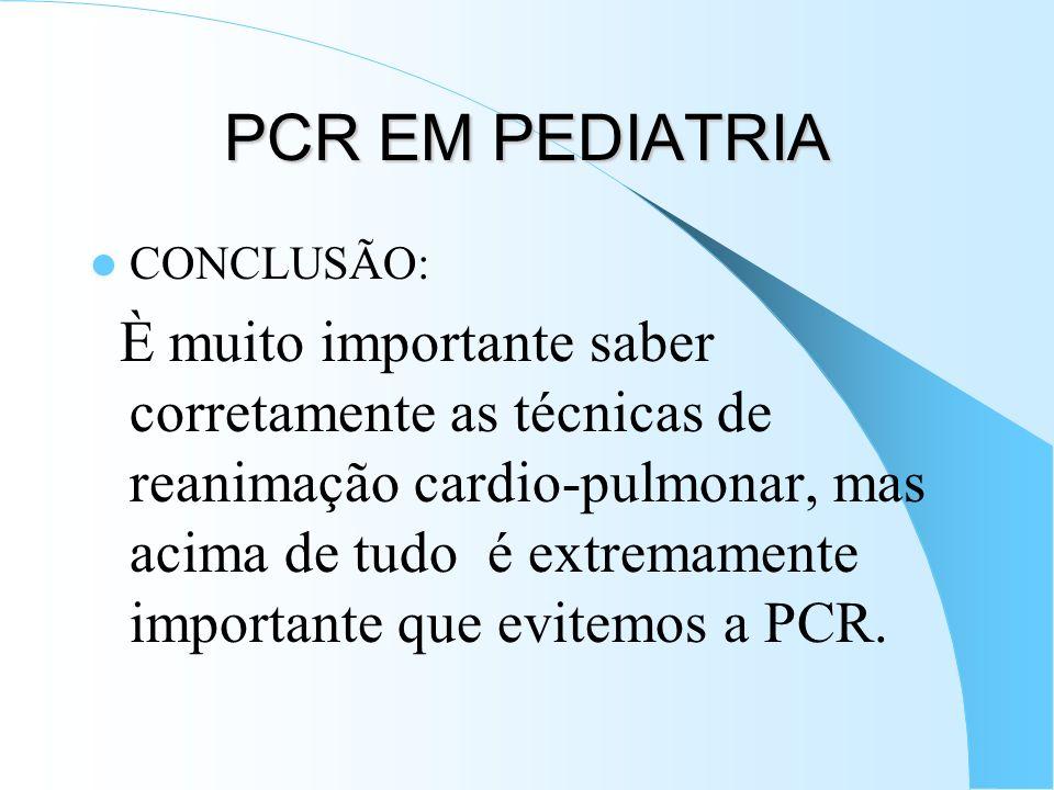 PCR EM PEDIATRIA CONCLUSÃO: È muito importante saber corretamente as técnicas de reanimação cardio-pulmonar, mas acima de tudo é extremamente importan