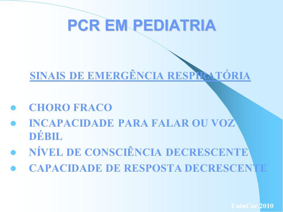 PCR EM PEDIATRIA PULSO CARÓTIDA : ADULTOS E CRIANÇAS BRAQUIAL: LACTENTES OUTROS RESPIRAÇÃO ( NÃO AGÔNICA ) TOSSE MOVIMENTOS CIRCULAÇÃO: SINAIS UninCor 2010