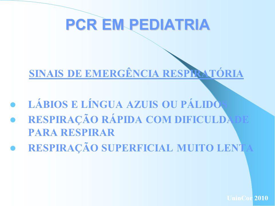 PCR EM PEDIATRIA SINAIS DE EMERGÊNCIA RESPIRATÓRIA LÁBIOS E LÍNGUA AZUIS OU PÁLIDOS RESPIRAÇÃO RÁPIDA COM DIFICULDADE PARA RESPIRAR RESPIRAÇÃO SUPERFI