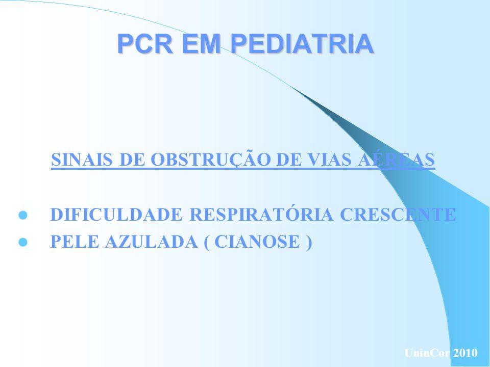 PCR EM PEDIATRIA SINAIS DE PARADA CARDÍACA AUSÊNCIA DE RESPOSTA AUSÊNCIA DE RESPIRAÇÃO ADEQUADA AUSÊNCIA DE SINAIS DE CIRCULAÇÃO ( FALTA DE PULSO ) UninCor 2010