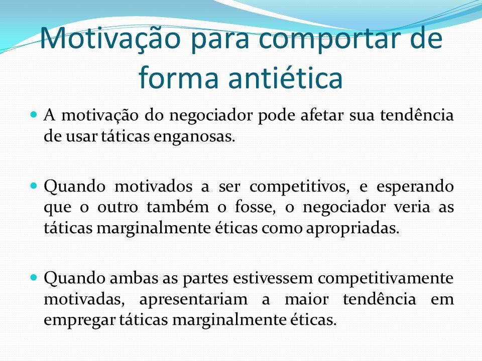 Motivação para comportar de forma antiética A motivação do negociador pode afetar sua tendência de usar táticas enganosas. Quando motivados a ser comp