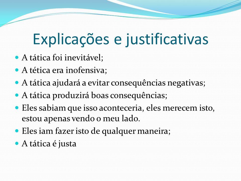 Explicações e justificativas A tática foi inevitável; A tética era inofensiva; A tática ajudará a evitar consequências negativas; A tática produzirá b