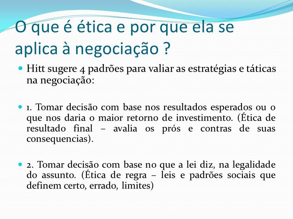 O que é ética e por que ela se aplica à negociação ? Hitt sugere 4 padrões para valiar as estratégias e táticas na negociação: 1. Tomar decisão com ba