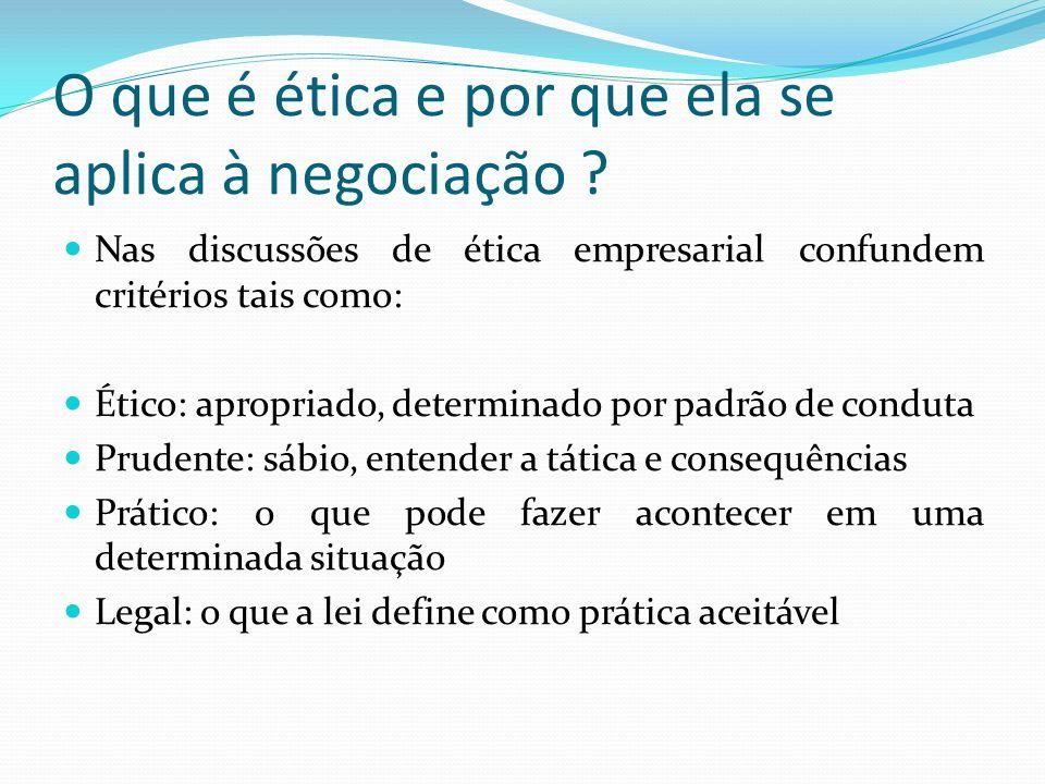 O que é ética e por que ela se aplica à negociação ? Nas discussões de ética empresarial confundem critérios tais como: Ético: apropriado, determinado
