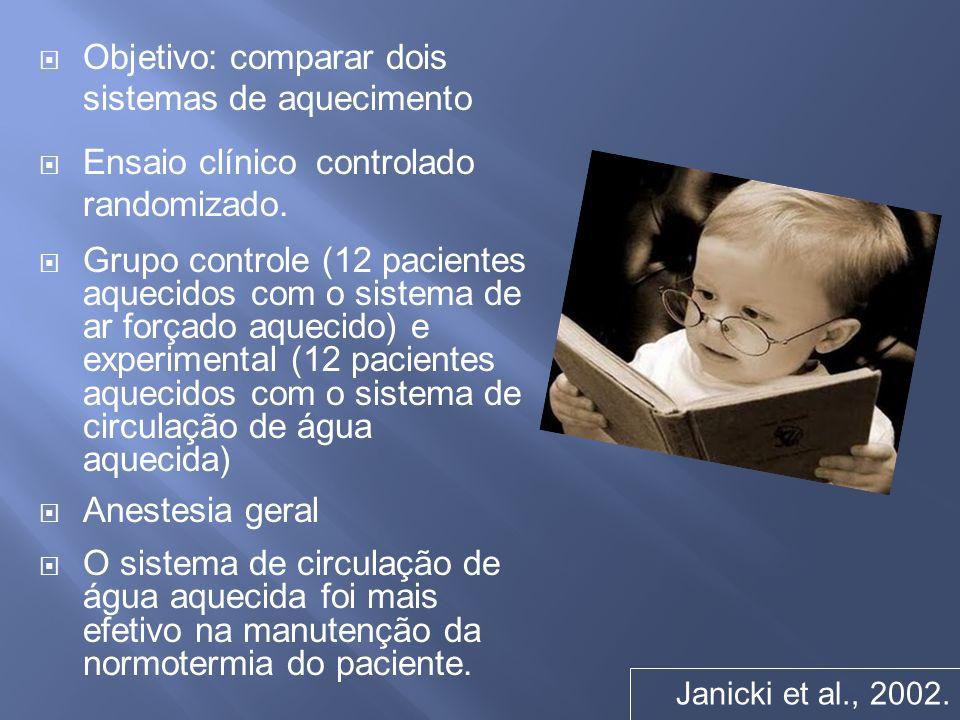 Objetivo: comparar dois sistemas de aquecimento Ensaio clínico controlado randomizado. Grupo controle (12 pacientes aquecidos com o sistema de ar forç