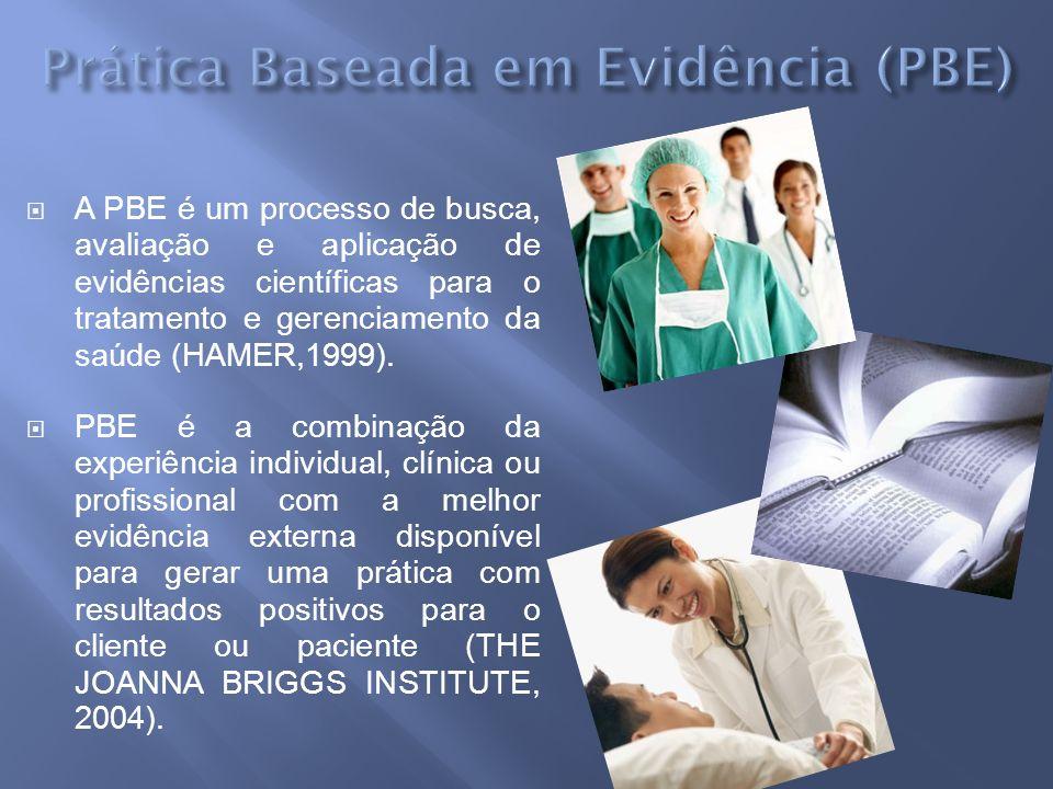A PBE é um processo de busca, avaliação e aplicação de evidências científicas para o tratamento e gerenciamento da saúde (HAMER,1999). PBE é a combina