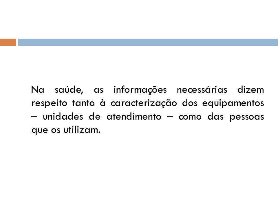 Na saúde, as informações necessárias dizem respeito tanto à caracterização dos equipamentos – unidades de atendimento – como das pessoas que os utiliz