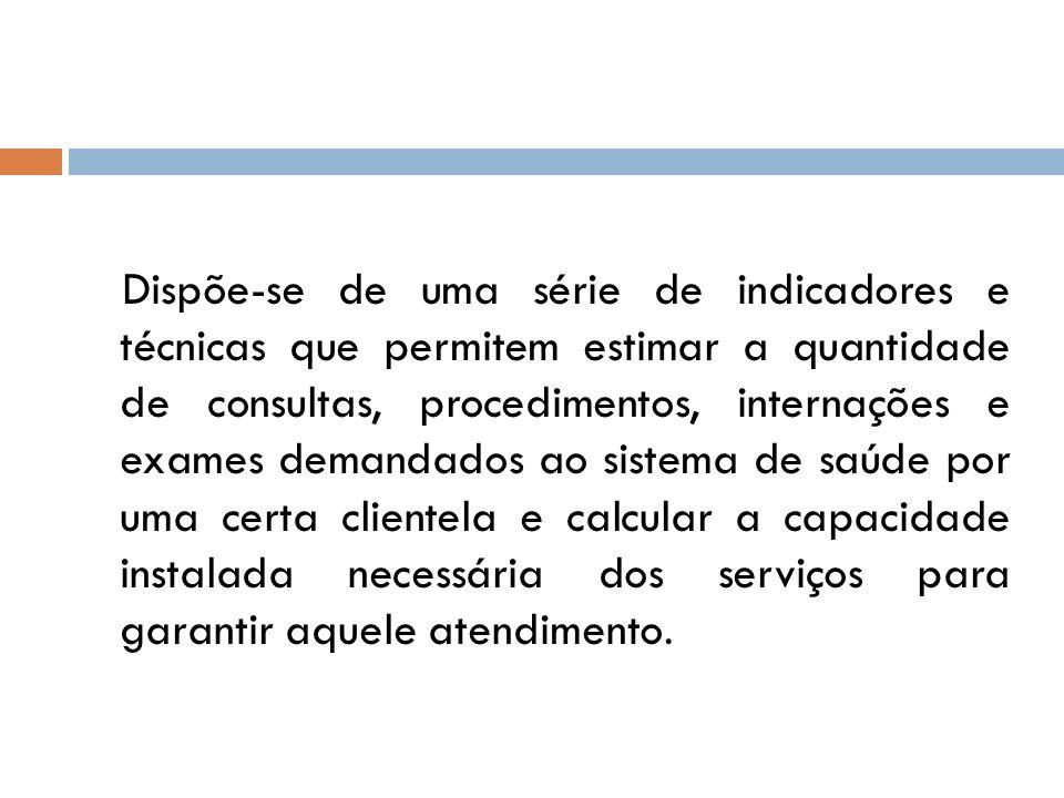 Dispõe-se de uma série de indicadores e técnicas que permitem estimar a quantidade de consultas, procedimentos, internações e exames demandados ao sis