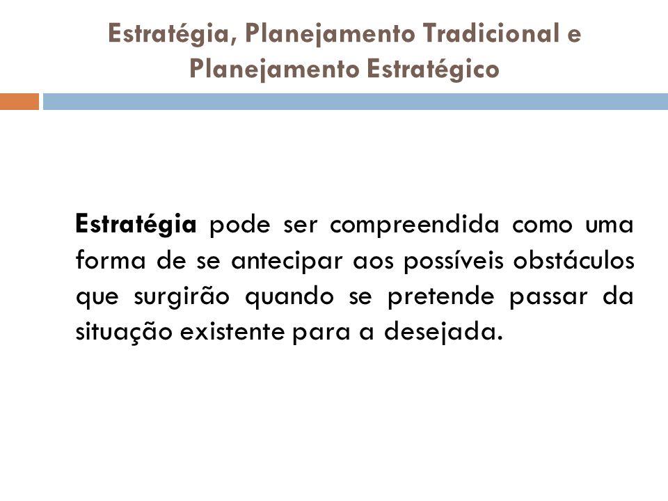 Estratégia, Planejamento Tradicional e Planejamento Estratégico Estratégia pode ser compreendida como uma forma de se antecipar aos possíveis obstácul