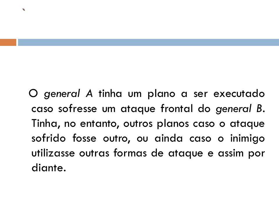 ` O general A tinha um plano a ser executado caso sofresse um ataque frontal do general B. Tinha, no entanto, outros planos caso o ataque sofrido foss