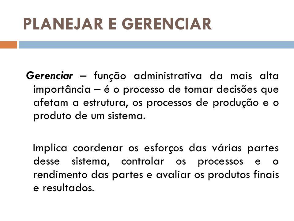 PLANEJAR E GERENCIAR Gerenciar – função administrativa da mais alta importância – é o processo de tomar decisões que afetam a estrutura, os processos