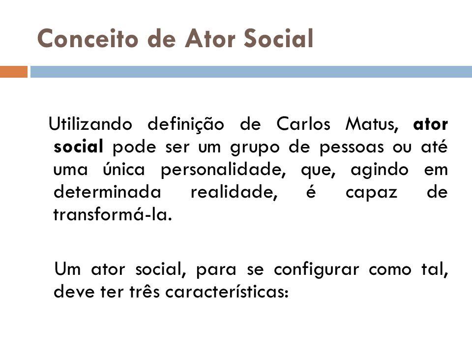 Conceito de Ator Social Utilizando definição de Carlos Matus, ator social pode ser um grupo de pessoas ou até uma única personalidade, que, agindo em