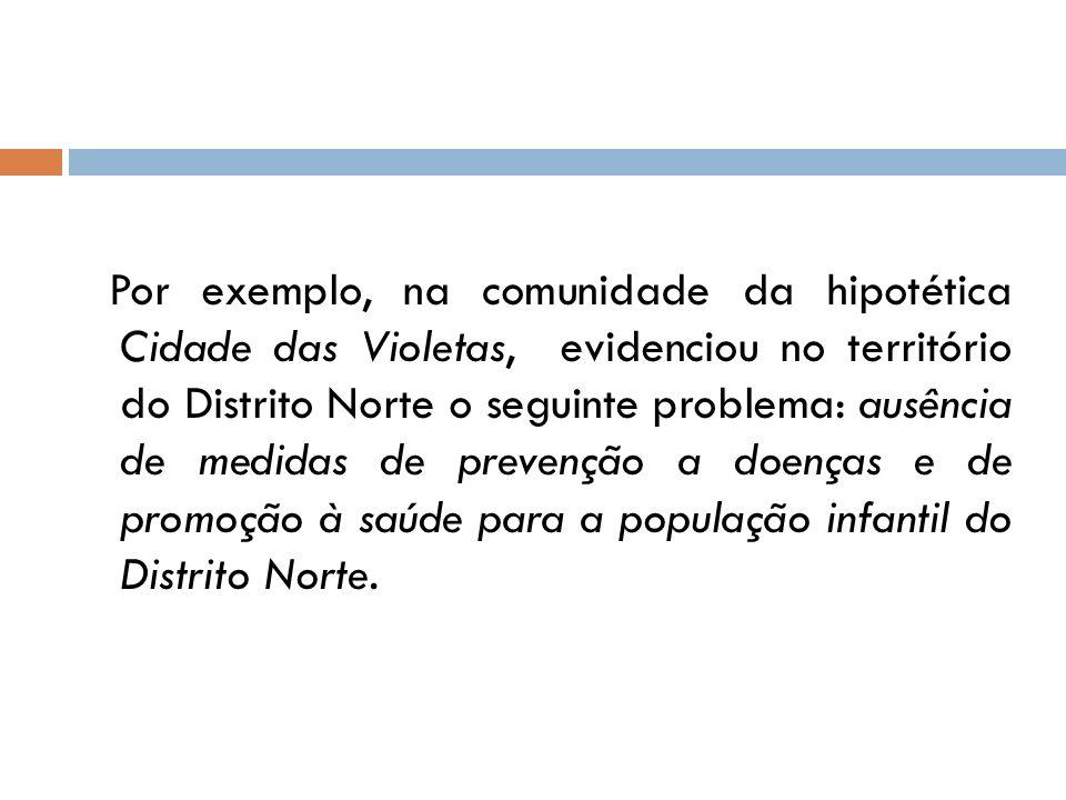 Por exemplo, na comunidade da hipotética Cidade das Violetas, evidenciou no território do Distrito Norte o seguinte problema: ausência de medidas de p