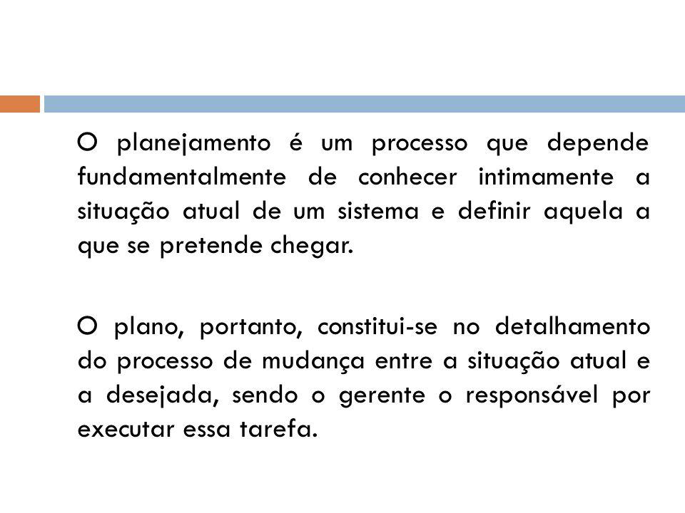 O planejamento é um processo que depende fundamentalmente de conhecer intimamente a situação atual de um sistema e definir aquela a que se pretende ch