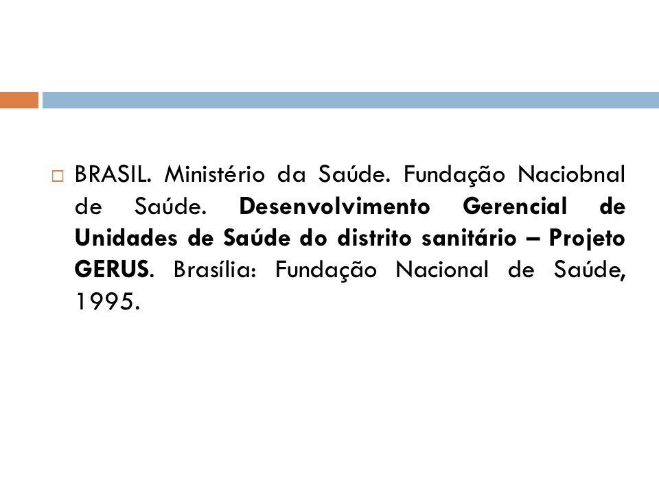 BRASIL. Ministério da Saúde. Fundação Naciobnal de Saúde. Desenvolvimento Gerencial de Unidades de Saúde do distrito sanitário – Projeto GERUS. Brasíl