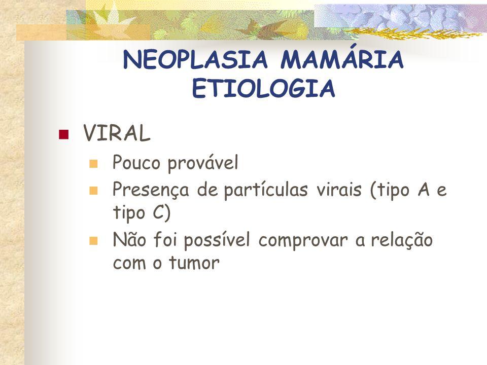 NEOPLASIA MAMÁRIA ETIOLOGIA HORMONAL ESTERÓIDES SEXUAIS Estrogênio e progesterona Ação mitogênica sobre as células mamárias Estrógeno – ductos Progesterona - alvéolos